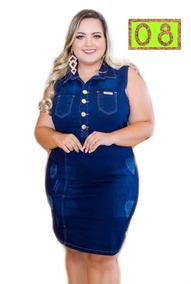 Vestido Jeans Plus Size Coleção Look Do Dia Fashion Ref 8