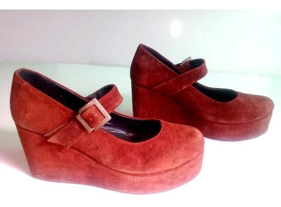 Zapato Guillermina Plataforma N°39,gamuza Color Bordo