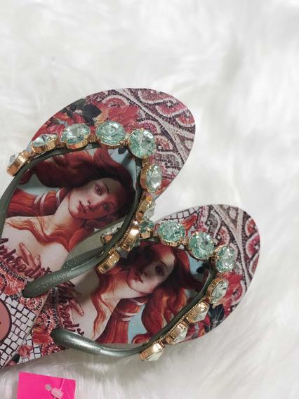 Sandália Chinelo Indaiá Com Brilho E Pedrarias