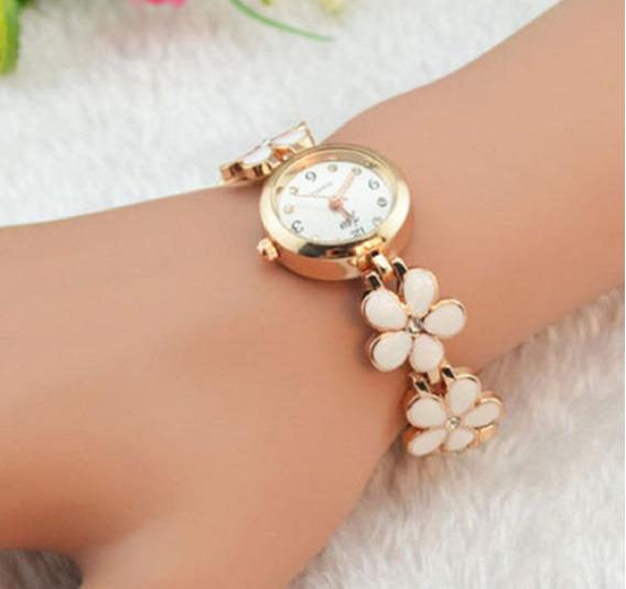 Relógio Flores Branco Lady Cristal Flower Quartz
