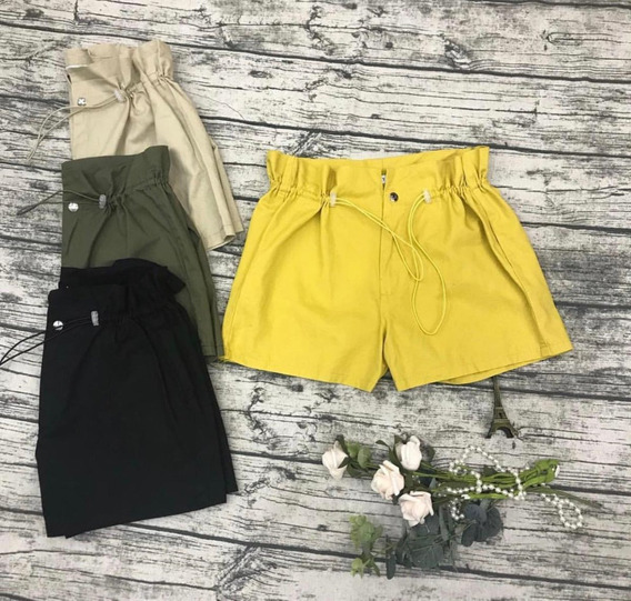 Short Cordão Regular Curto Casual Cintura Alta