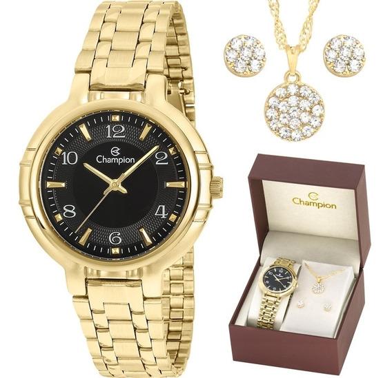 Relógio Champion Analógico Cn20444x Feminino + Semijoia