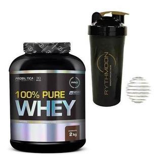 Kit 100% Pure Whey 2kg + Coqueteleira 600ml C/mola Baunilha