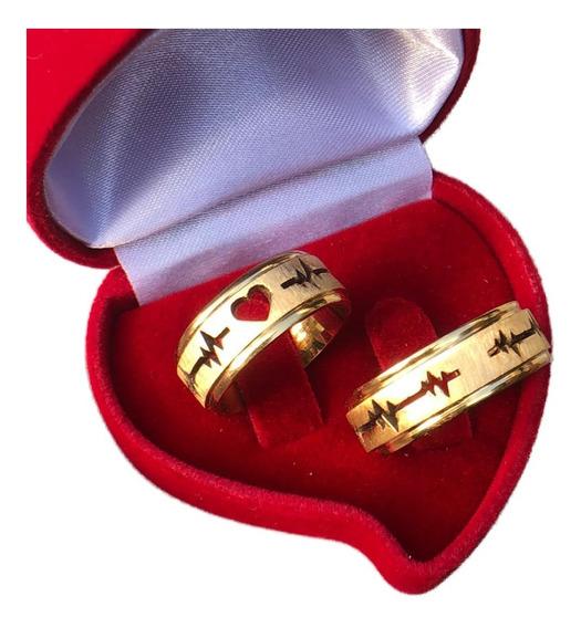 Par Alianças Coração E Batimentos Casamento Noivado + Anel