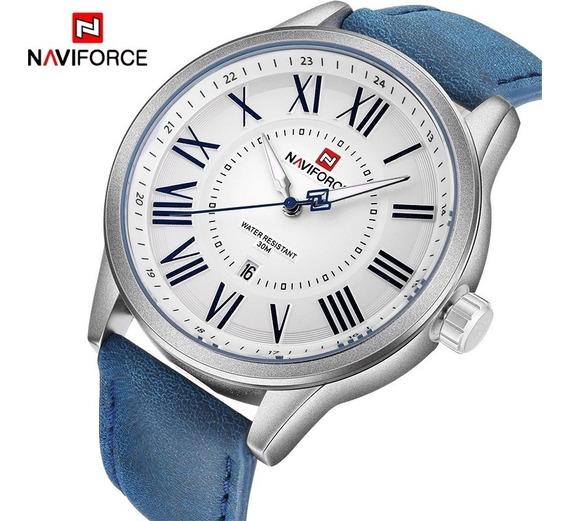 Relógio Bracelete De Couro Masculino Naviforce