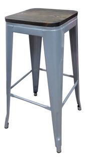 Banqueta Tolix Metal Refozada Gris C/madera X2 C/envio