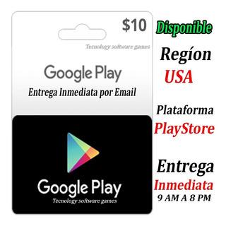 Tarjeta Google Play Store 10 Usd Americana Entrega Inmediata