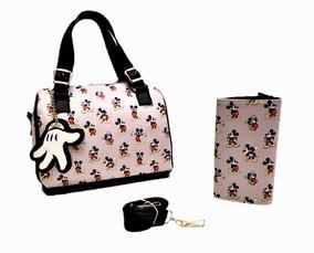 Bolsa De Mano Mickey Mouse Con Cartera Y Colguije Bordado