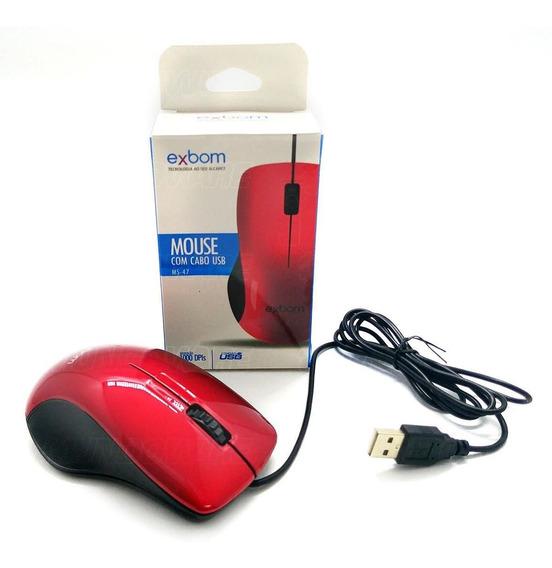 Mouse Usb Óptico 1000dpi Scroll Vermelho Brilhante Promoção