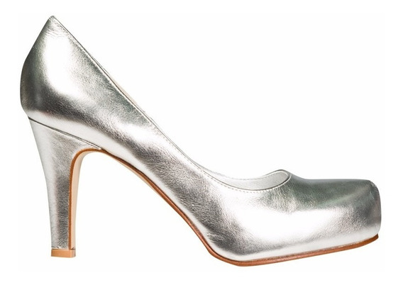 Zapatos Stilletos Luis Xv Mujer Cuero Plata Plateado Marta Sixto