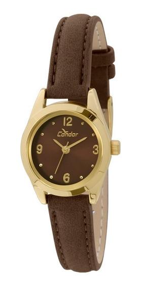 Relógio Condor Feminino Co2035kkz/2m Dourado Couro Marrom