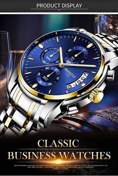 Relógio Nibosi Luxo 2353 Cronógrafo Promoção Fr. Grátis