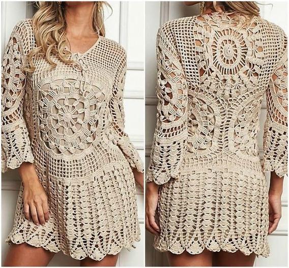 Vestido Saída De Praia Trico Croche Artesanal Perfeito
