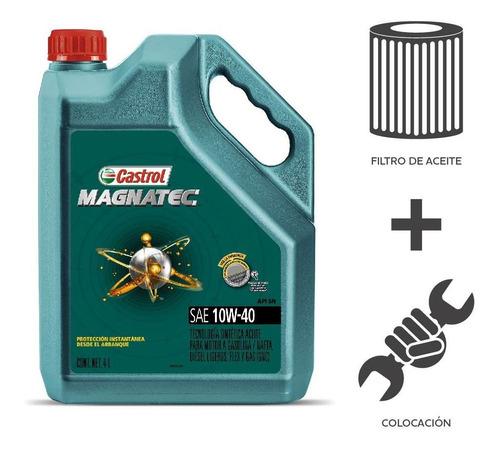 Imagen 1 de 5 de Cambio Aceite Castrol 10w40+ Filtro Aceite + Colocacion 4l