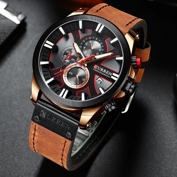 Relógio Curren Analógico Luxo Cronógrafo Funcional