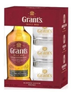 Whisky W Grants Triple W 750ml Incluye 3 Vasos Gratis