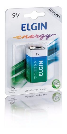 Bateria 9v Alcalina Elgin 6lr61 Energy Em Blister