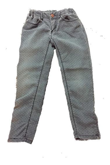 Pantalón Mezclilla Zara Azul Con Puntos Blancos Talla 5/6