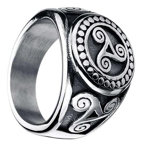 Anel Viking Aço Inoxidavel Triquetra Viking Tribal Celta