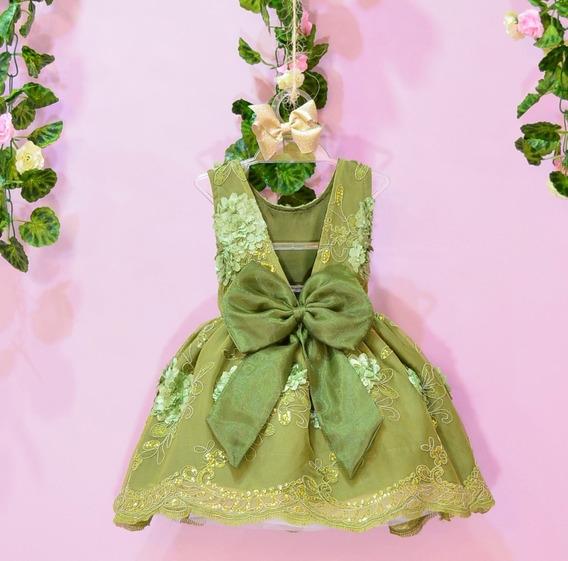 Vestido De Renda Para Festa Infantil Menina Verde Com Flores