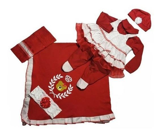Kit Saída De Maternidade Menina Urso Vermelho 6 Peças