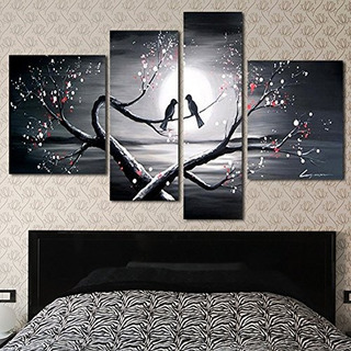 Arte Del Diseño Ol1221 4panel Amor Pájaros Pintura Al Óleo A