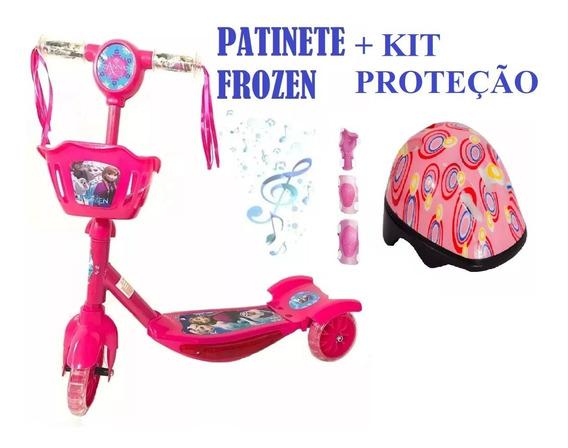 Novo Patinete Cesta Frozen 3d E Outros+kit Proteção Completo