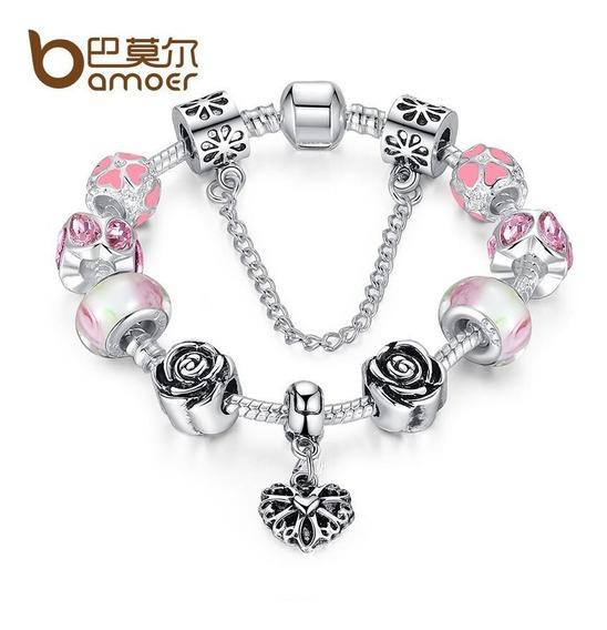 Pulseira Bracelete Berloques Pandora Banhada Prata 925