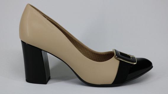 Sapato Piccadilly Bico Fino E Salto Grosso Marfim