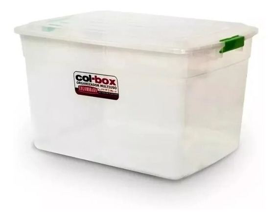 Caja Organizador Plastico Apilable Con Tapa Taper 34 Litros Colombraro
