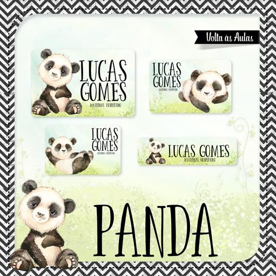 25 Etiquetas Escolares Panda