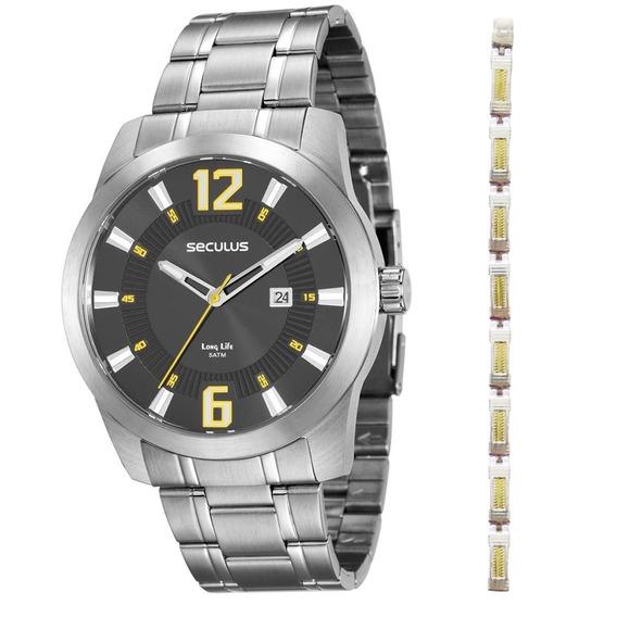 Kit Relógio Masculino Seculus Analógico 20496g0svna2 - Prata
