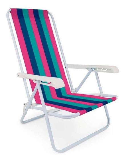 Cadeira Reclinável Camping Praia Piscina Dobrável 4 Posições
