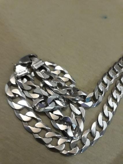 Corrente Prata 925 Maciça Escama De Peixe 12 Mm 60 Cm