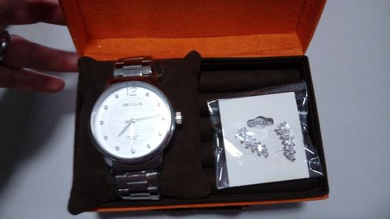 Kit Relógio Secullus Feminino + Brinco