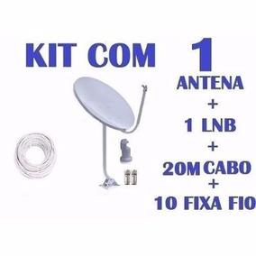 Kit Antena 60cm Ku + Lnb Duplo Universal+cabo Rg6+misc