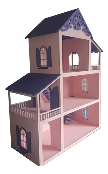 Casa Casinha Polly Rosa/roxa+27 Moveis Prom.dia Das Crianças