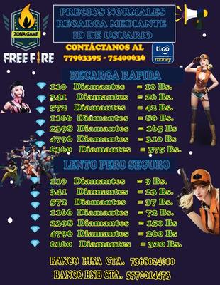 Venta De Diamantes Free Fire
