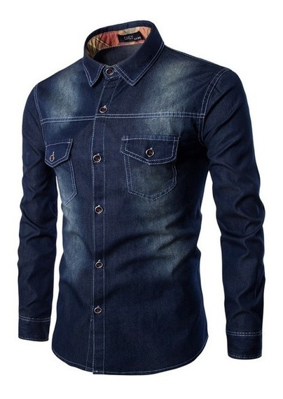 Camisa Jeans Slim Fit Masculina Pronta Entrega