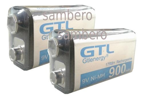 2pilas Recargables 9v 900 Larga Duración Batería Cuadrada