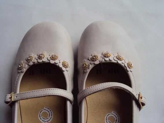 Zapatos Color Crema Para Niña Primera Comunión Talla 20.