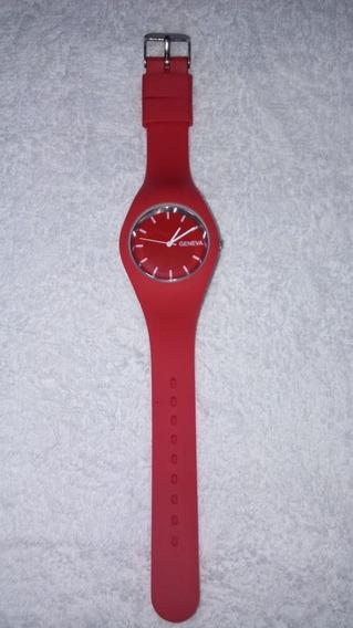 Relogio De Pulso Vermelho Silicone, Cod. 00158