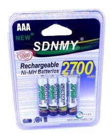 Pilha Bateria Recarregável 4 Pçs Sdnmy Aaa 2700mah Original