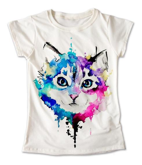 Blusa Gato Colores Playera Estampado Pintura Animales 079