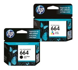 Combo Hp 664 Negro + Color Original
