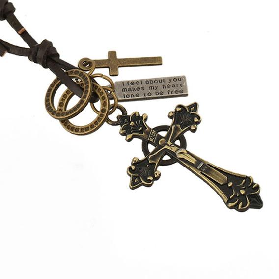 Cordão Colar Masculino Couro Dourado + Pingente Crucifixo