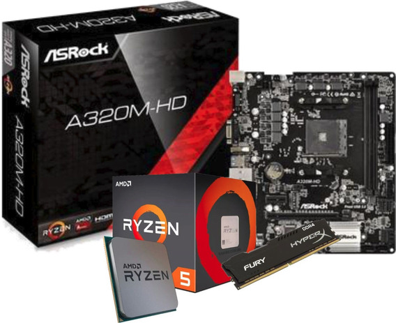 Kit Ryzen 2400g Asrock A320m-hd Fury 8gb 2400mhz