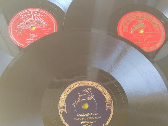 Música Árabe 3 Discos 78 Rpm Raros C Caixa De Madeira Grátis