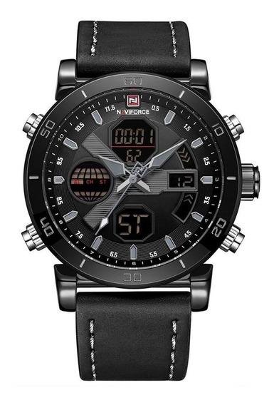 Relógio Masculino Naviforce Preto 9132 Pulseira De Couro