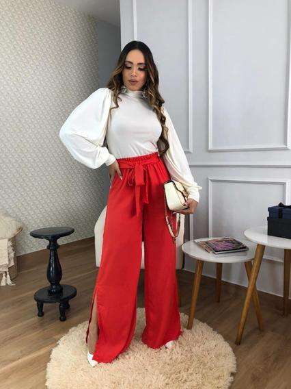 Conjunto Feminino Calça Pantalona + Blusa/ Body Elegance